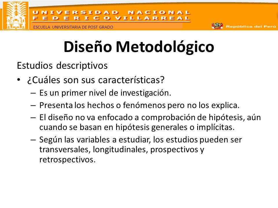 ESCUELA UNIVERSITARIA DE POST GRADO Diseño Metodológico Estudios descriptivos ¿Cuáles son sus características? – Es un primer nivel de investigación.