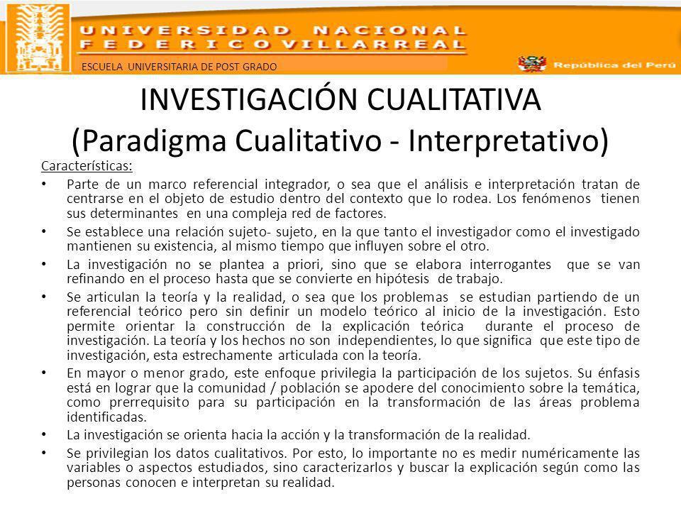 ESCUELA UNIVERSITARIA DE POST GRADO INVESTIGACIÓN CUALITATIVA (Paradigma Cualitativo - Interpretativo) Características: Parte de un marco referencial