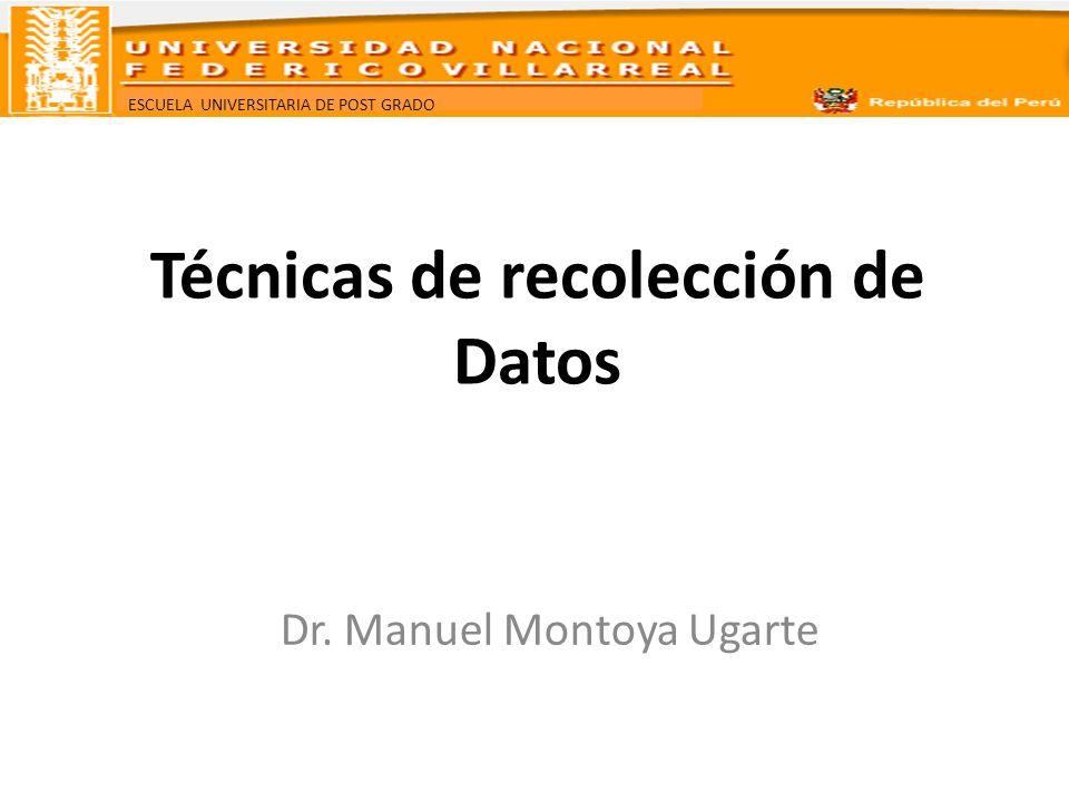 ESCUELA UNIVERSITARIA DE POST GRADO Técnicas de recolección de Datos Dr. Manuel Montoya Ugarte