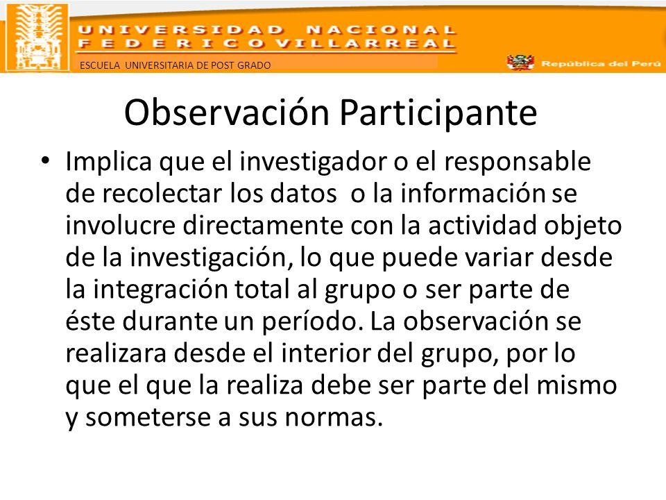 ESCUELA UNIVERSITARIA DE POST GRADO Observación Participante Implica que el investigador o el responsable de recolectar los datos o la información se