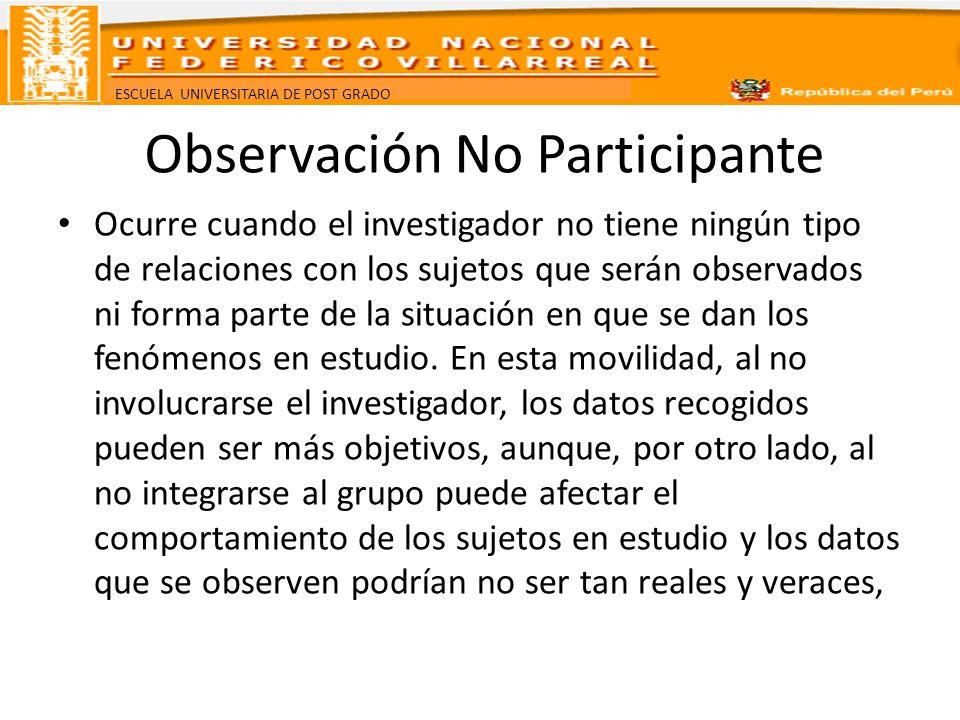 ESCUELA UNIVERSITARIA DE POST GRADO Observación No Participante Ocurre cuando el investigador no tiene ningún tipo de relaciones con los sujetos que s