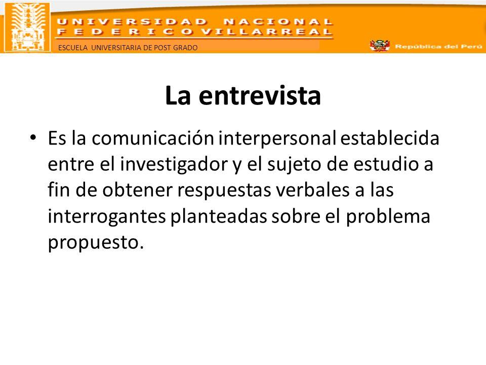 ESCUELA UNIVERSITARIA DE POST GRADO La entrevista Es la comunicación interpersonal establecida entre el investigador y el sujeto de estudio a fin de o