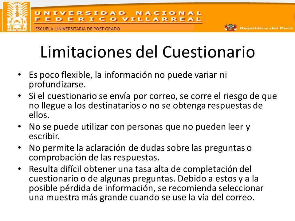 ESCUELA UNIVERSITARIA DE POST GRADO Limitaciones del Cuestionario Es poco flexible, la información no puede variar ni profundizarse. Si el cuestionari