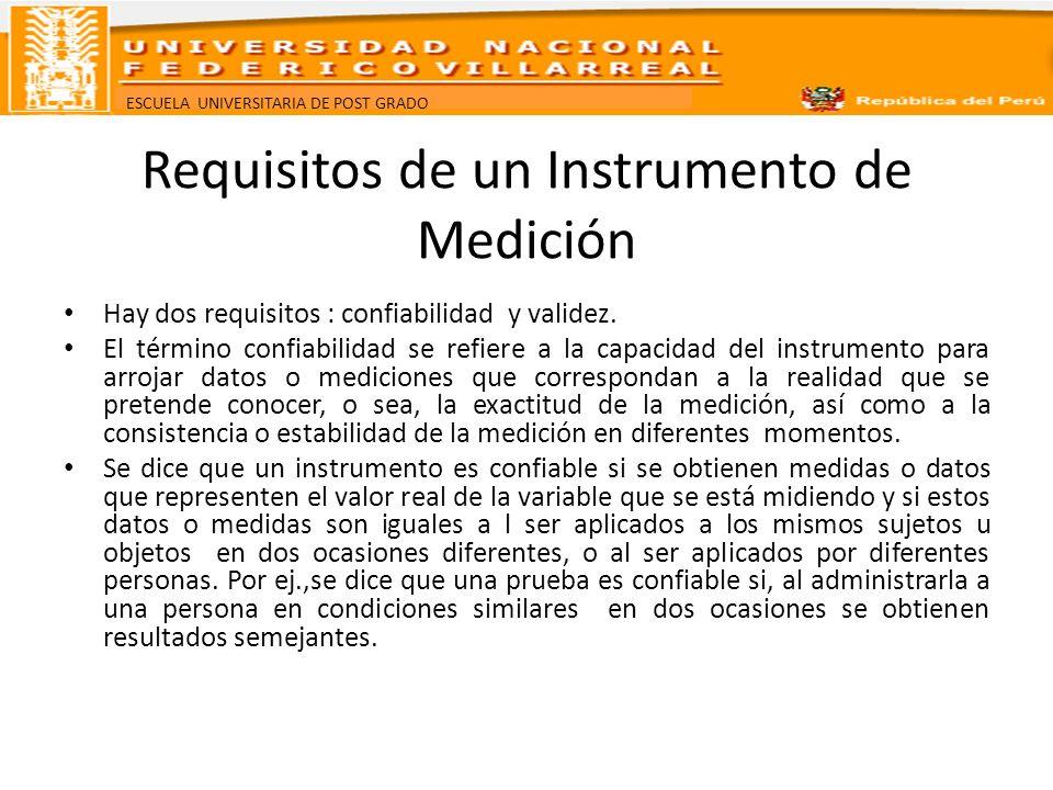 ESCUELA UNIVERSITARIA DE POST GRADO Requisitos de un Instrumento de Medición Hay dos requisitos : confiabilidad y validez. El término confiabilidad se