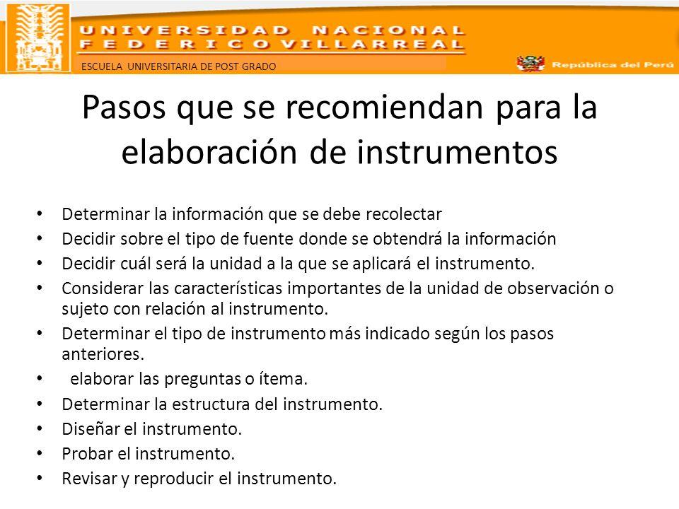 ESCUELA UNIVERSITARIA DE POST GRADO Pasos que se recomiendan para la elaboración de instrumentos Determinar la información que se debe recolectar Deci