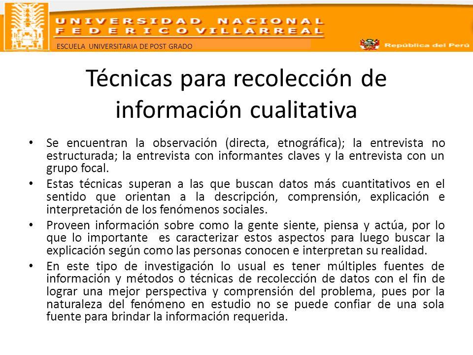 ESCUELA UNIVERSITARIA DE POST GRADO Técnicas para recolección de información cualitativa Se encuentran la observación (directa, etnográfica); la entre