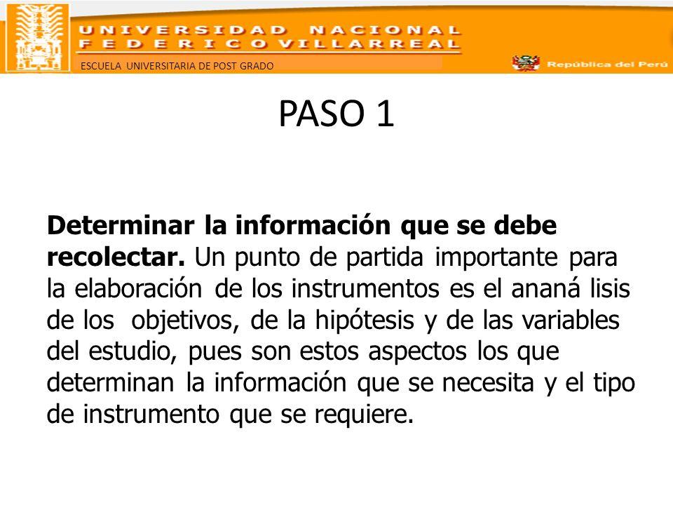 ESCUELA UNIVERSITARIA DE POST GRADO PASO 1 Determinar la información que se debe recolectar. Un punto de partida importante para la elaboración de los