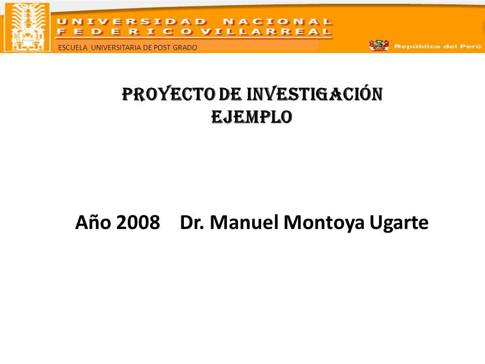 ESCUELA UNIVERSITARIA DE POST GRADO PROYECTO DE INVESTIGACIÓN EJEMPLO Año 2008 Dr. Manuel Montoya Ugarte