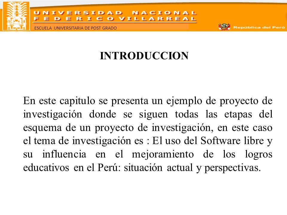 ESCUELA UNIVERSITARIA DE POST GRADO INTRODUCCION En este capitulo se presenta un ejemplo de proyecto de investigación donde se siguen todas las etapas