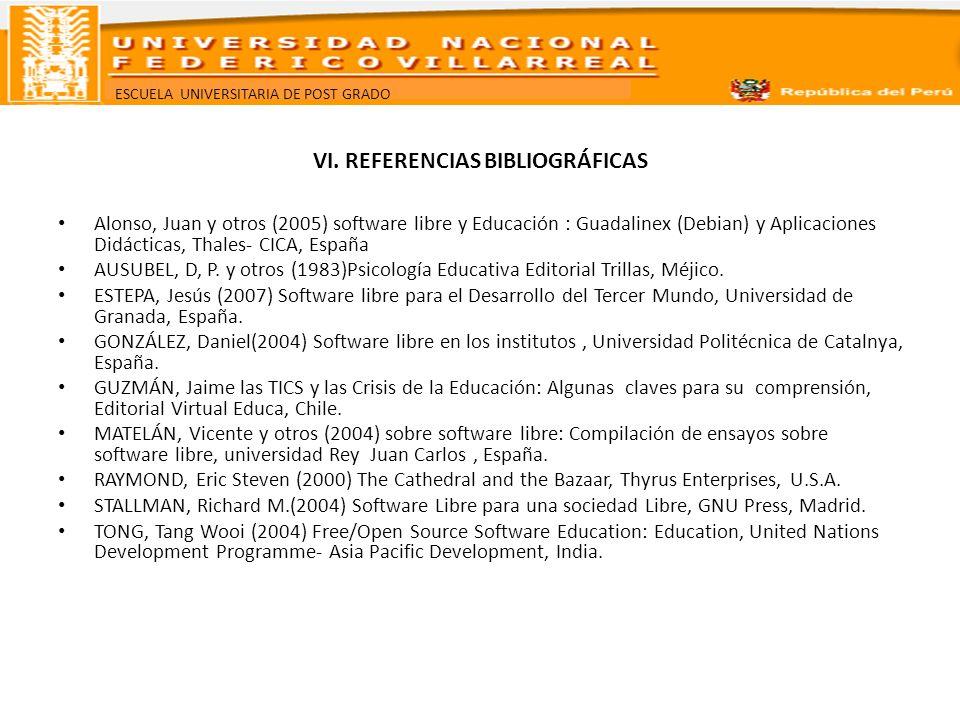 ESCUELA UNIVERSITARIA DE POST GRADO VI. REFERENCIAS BIBLIOGRÁFICAS Alonso, Juan y otros (2005) software libre y Educación : Guadalinex (Debian) y Apli