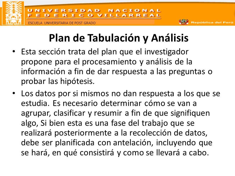 ESCUELA UNIVERSITARIA DE POST GRADO Plan de Tabulación El plan de tabulación consiste en determinar qué resultados de las variables de estudio necesitan ser analizadas, a fin de dar respuesta al problema y objetivos planteados.