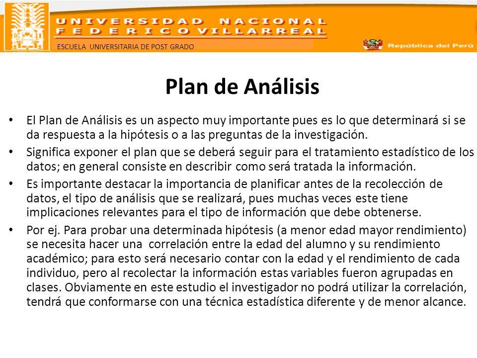 ESCUELA UNIVERSITARIA DE POST GRADO Plan de Análisis Hay casos en que no puede calcularse un promedio porque la información fue tomada en forma indebida.