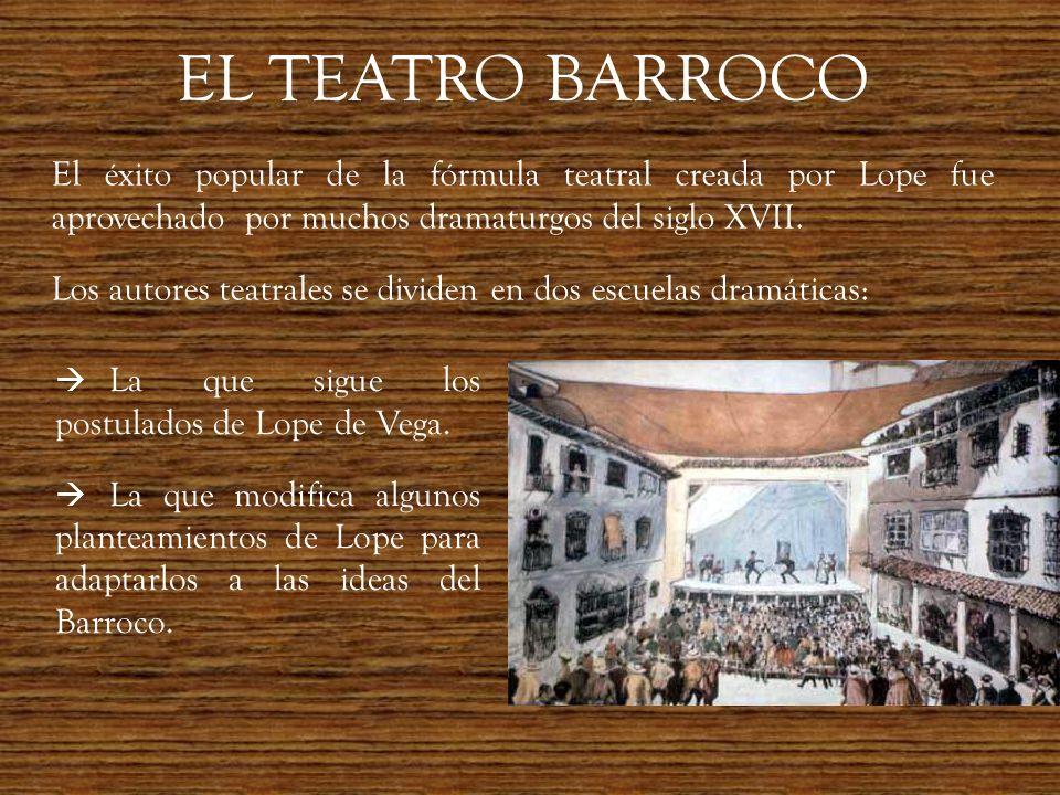 EL TEATRO BARROCO El éxito popular de la fórmula teatral creada por Lope fue aprovechado por muchos dramaturgos del siglo XVII. Los autores teatrales
