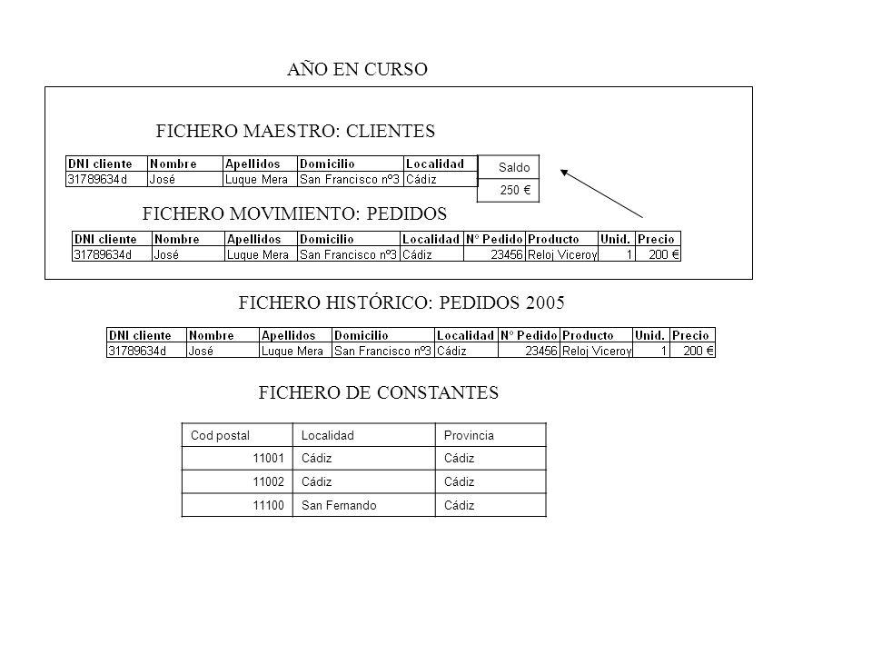FICHERO MAESTRO: CLIENTES FICHERO MOVIMIENTO: PEDIDOS Saldo 250 FICHERO HISTÓRICO: PEDIDOS 2005 AÑO EN CURSO Cod postalLocalidadProvincia 11001Cádiz 1