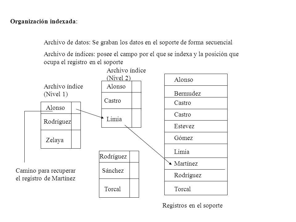 Organización indexada: Archivo de datos: Se graban los datos en el soporte de forma secuencial Archivo de índices: posee el campo por el que se indexa