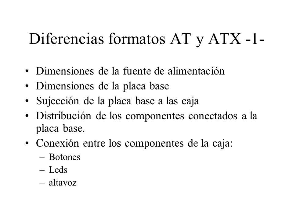 Diferencias formatos AT y ATX -1- Dimensiones de la fuente de alimentación Dimensiones de la placa base Sujección de la placa base a las caja Distribu