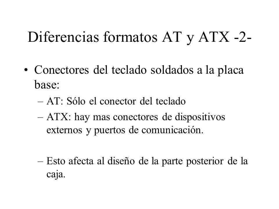 Diferencias formatos AT y ATX -2- Conectores del teclado soldados a la placa base: –AT: Sólo el conector del teclado –ATX: hay mas conectores de dispo