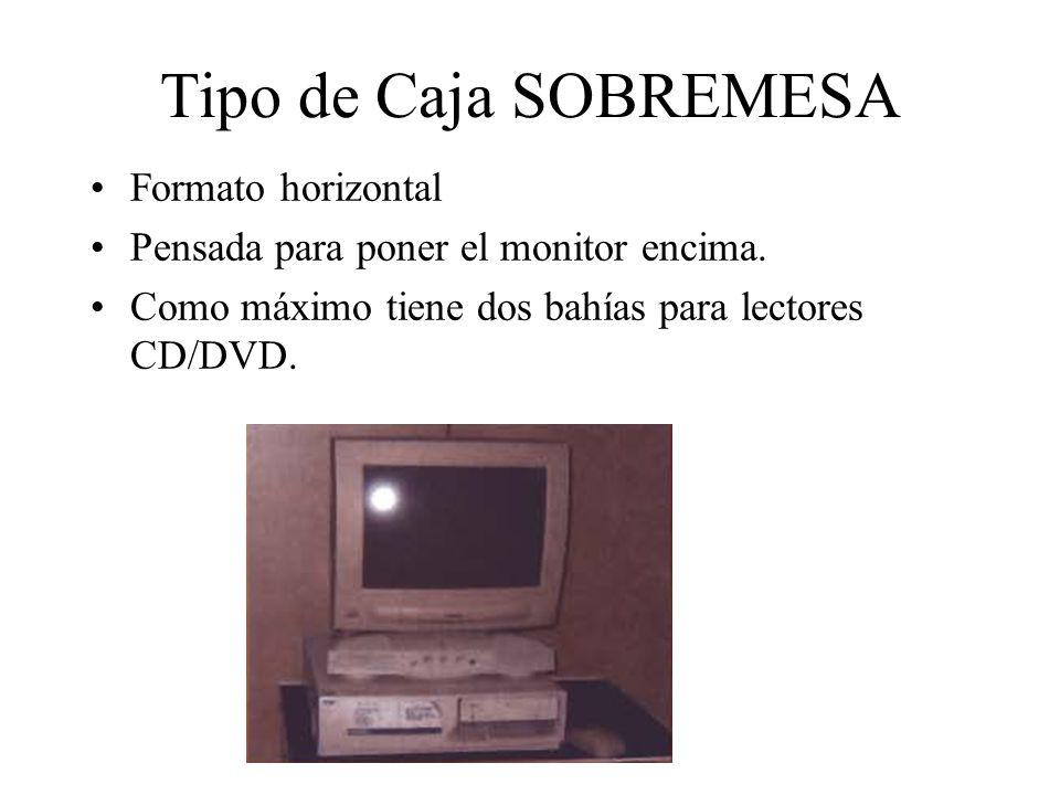 Tipo de Caja SOBREMESA Formato horizontal Pensada para poner el monitor encima. Como máximo tiene dos bahías para lectores CD/DVD.