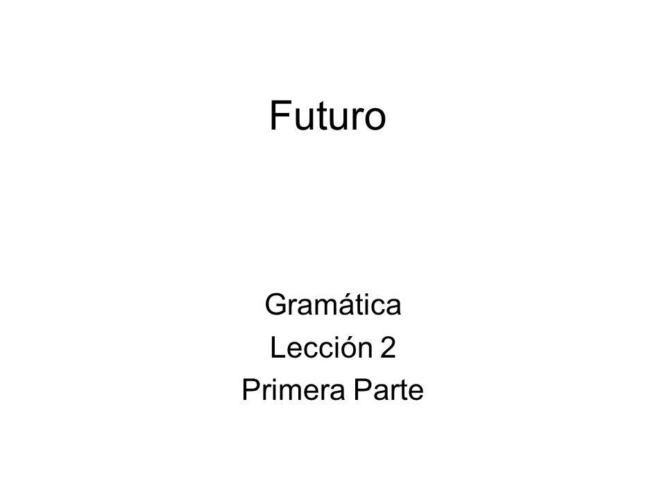 Futuro Gramática Lección 2 Primera Parte
