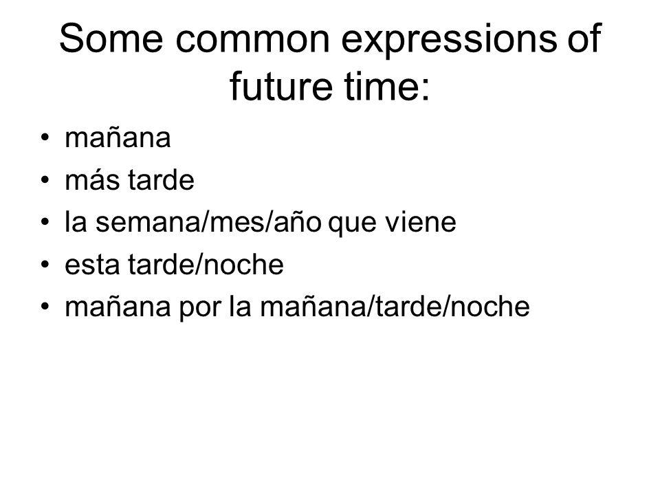 Some common expressions of future time: mañana más tarde la semana/mes/año que viene esta tarde/noche mañana por la mañana/tarde/noche