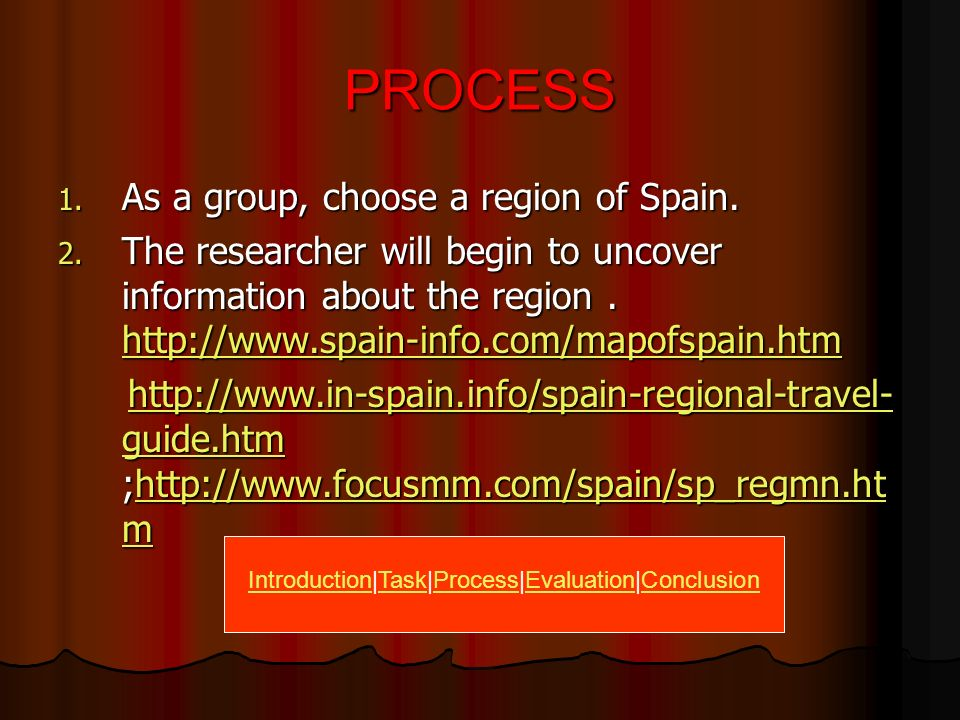 TASKS Using your imaginations and the websites provided each group of four is going to create a travelogue power point presentation to one region of S
