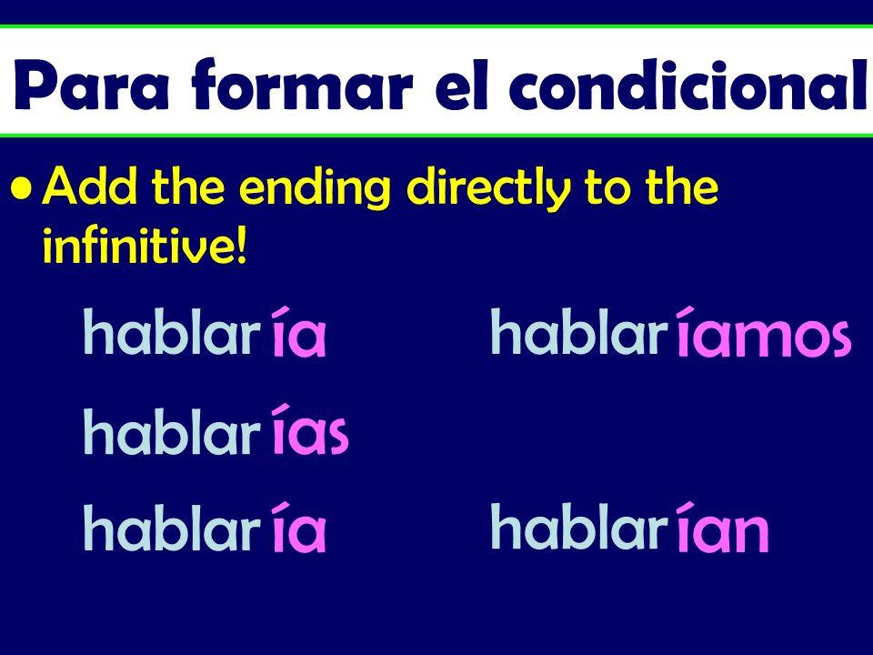 Add the ending directly to the infinitive! ía íamos ías ía ían Para formar el condicional hablar