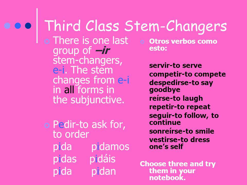 Third Class Stem-Changers There is one last group of –ir stem-changers, e-i. The stem changes from e-i in all forms in the subjunctive. Pedir-to ask f