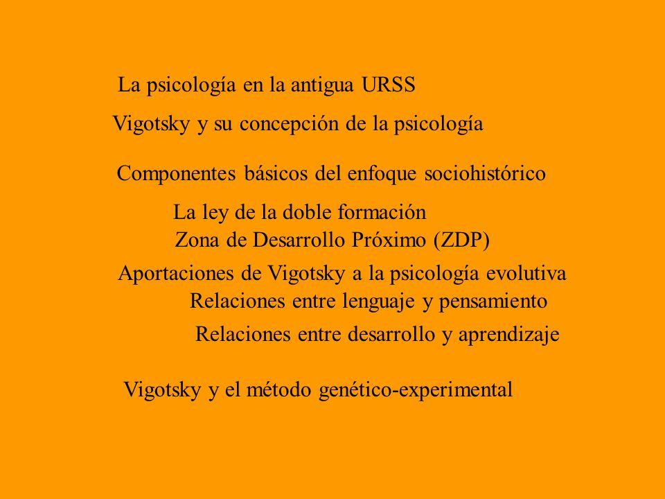 La psicología en la antigua URSS Vigotsky y su concepción de la psicología Componentes básicos del enfoque sociohistórico La ley de la doble formación
