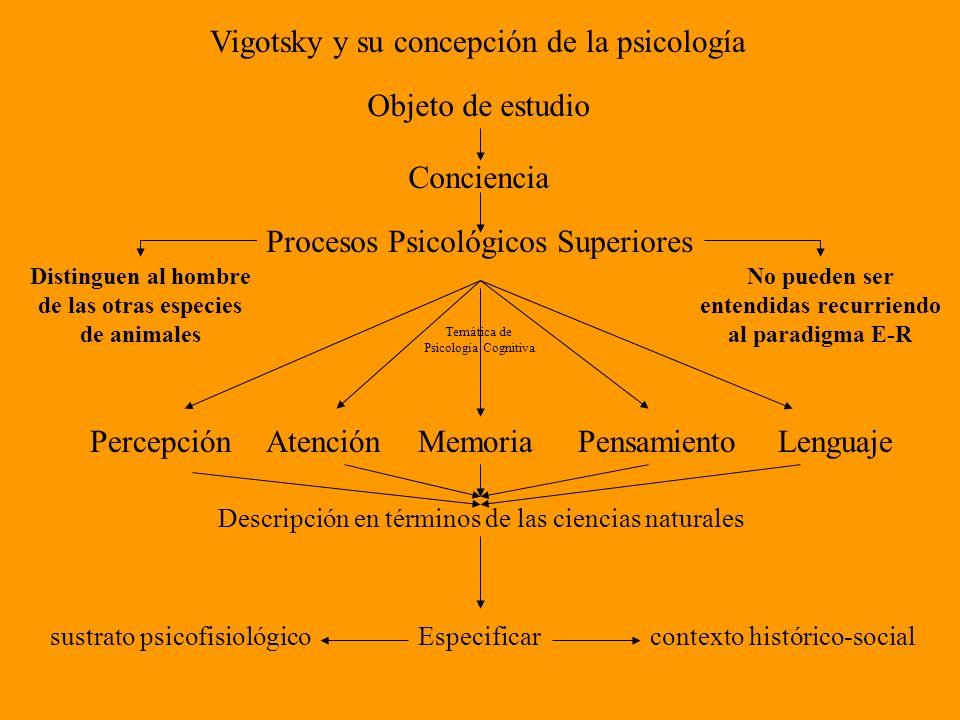 Vigotsky y su concepción de la psicología Objeto de estudio Conciencia Procesos Psicológicos Superiores Distinguen al hombre de las otras especies de