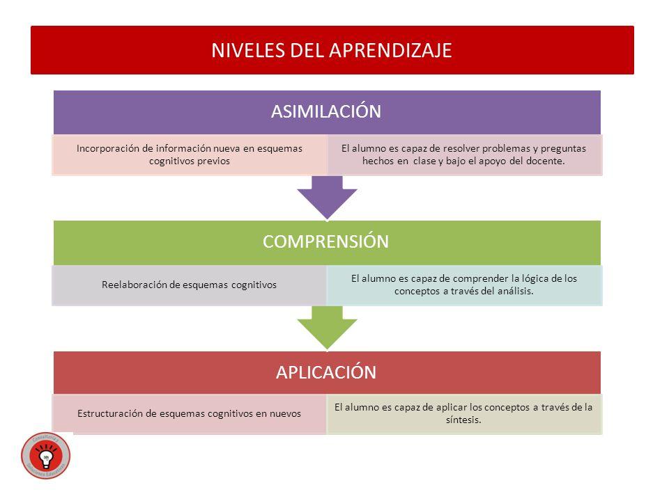 NIVELES DEL APRENDIZAJE APLICACIÓN Estructuración de esquemas cognitivos en nuevos El alumno es capaz de aplicar los conceptos a través de la síntesis.