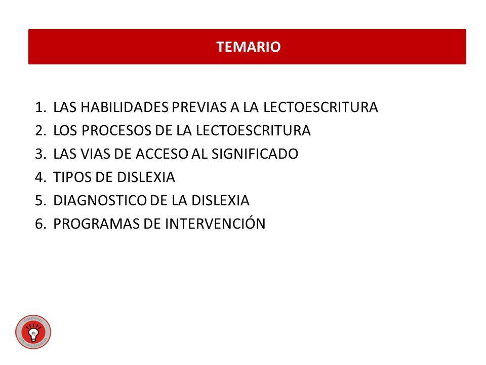 1.LAS HABILIDADES PREVIAS A LA LECTOESCRITURA 2.LOS PROCESOS DE LA LECTOESCRITURA 3.LAS VIAS DE ACCESO AL SIGNIFICADO 4.TIPOS DE DISLEXIA 5.DIAGNOSTICO DE LA DISLEXIA 6.PROGRAMAS DE INTERVENCIÓN TEMARIO