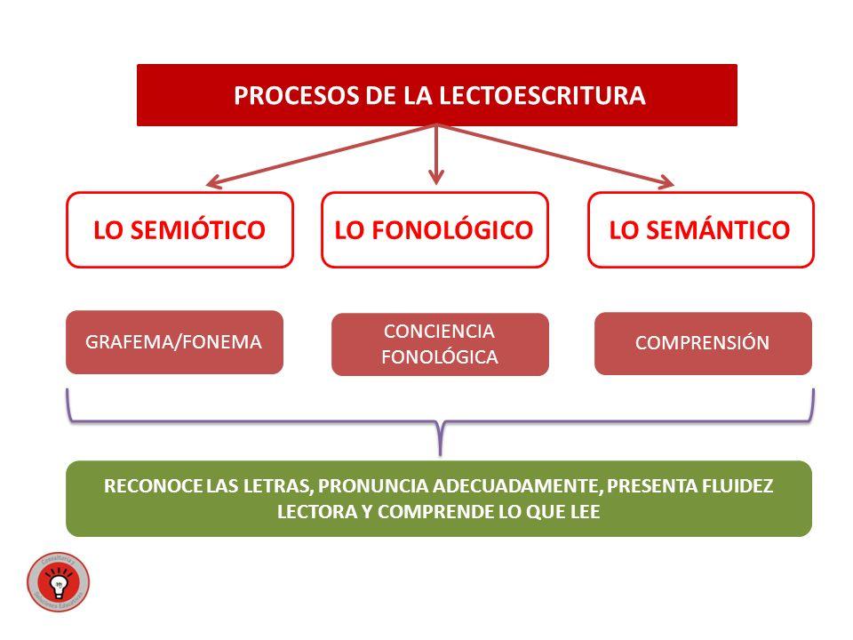 PROCESOS DE LA LECTOESCRITURA LO FONOLÓGICOLO SEMIÓTICOLO SEMÁNTICO GRAFEMA/FONEMA CONCIENCIA FONOLÓGICA COMPRENSIÓN RECONOCE LAS LETRAS, PRONUNCIA ADECUADAMENTE, PRESENTA FLUIDEZ LECTORA Y COMPRENDE LO QUE LEE