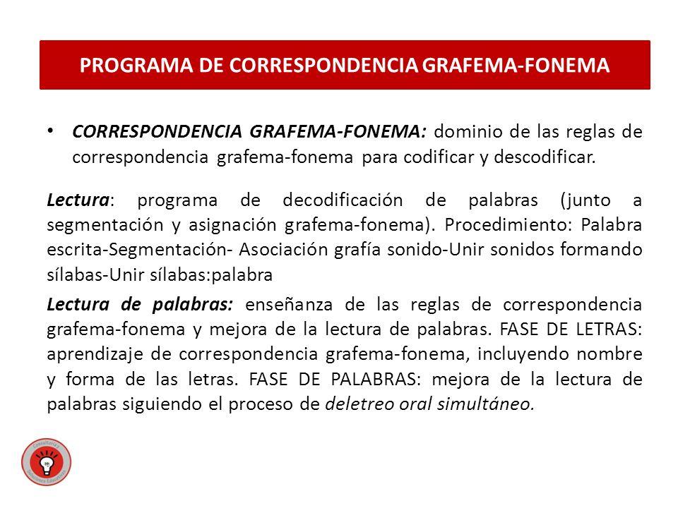 CORRESPONDENCIA GRAFEMA-FONEMA: dominio de las reglas de correspondencia grafema-fonema para codificar y descodificar.