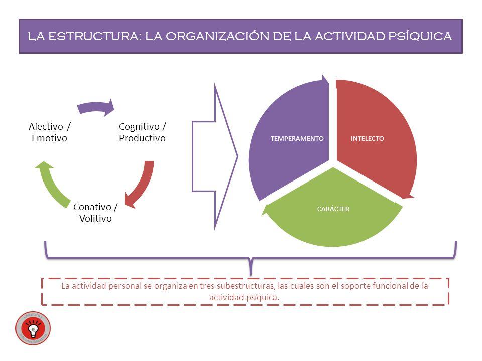 LA ESTRUCTURA: LA ORGANIZACIÓN DE LA ACTIVIDAD PSÍQUICA INTELECTO CARÁCTER TEMPERAMENTO Cognitivo / Productivo Conativo / Volitivo Afectivo / Emotivo La actividad personal se organiza en tres subestructuras, las cuales son el soporte funcional de la actividad psíquica.