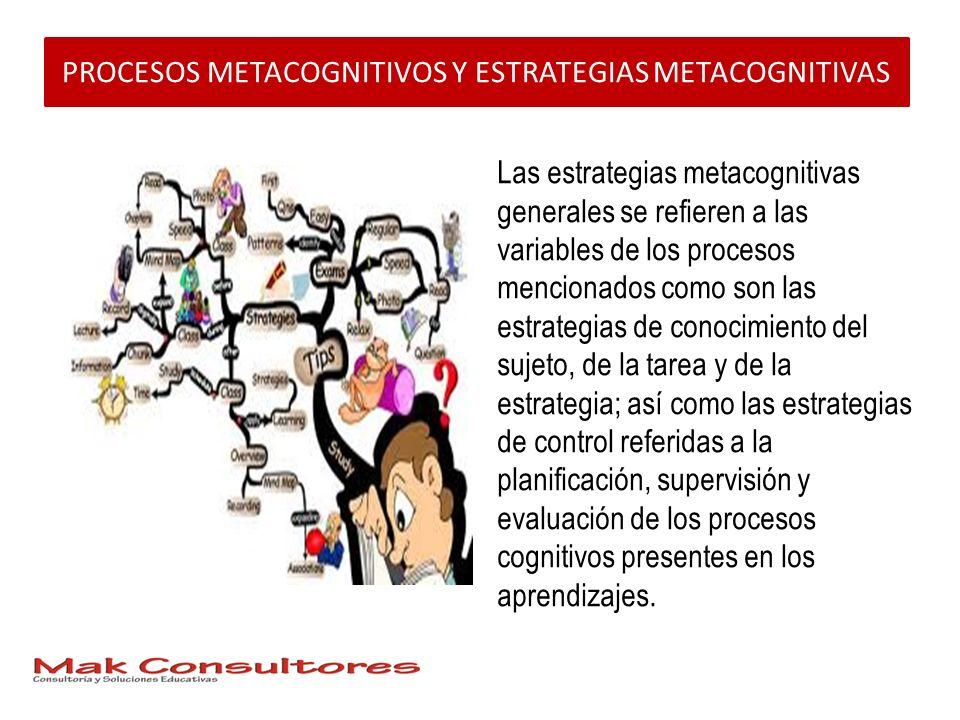 PROCESOS METACOGNITIVOS Y ESTRATEGIAS METACOGNITIVAS Las estrategias metacognitivas generales se refieren a las variables de los procesos mencionados