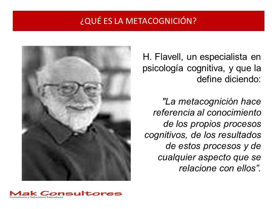 ¿QUÉ ES LA METACOGNICIÓN? H. Flavell, un especialista en psicología cognitiva, y que la define diciendo: