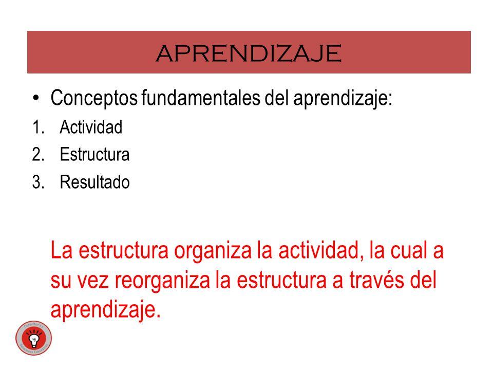APRENDIZAJE Conceptos fundamentales del aprendizaje: 1.Actividad 2.Estructura 3.Resultado La estructura organiza la actividad, la cual a su vez reorga
