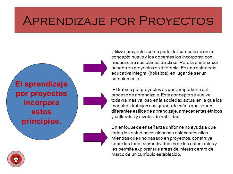 Aprendizaje por Proyectos Utilizar proyectos como parte del currículo no es un concepto nuevo y los docentes los incorporan con frecuencia a sus plane
