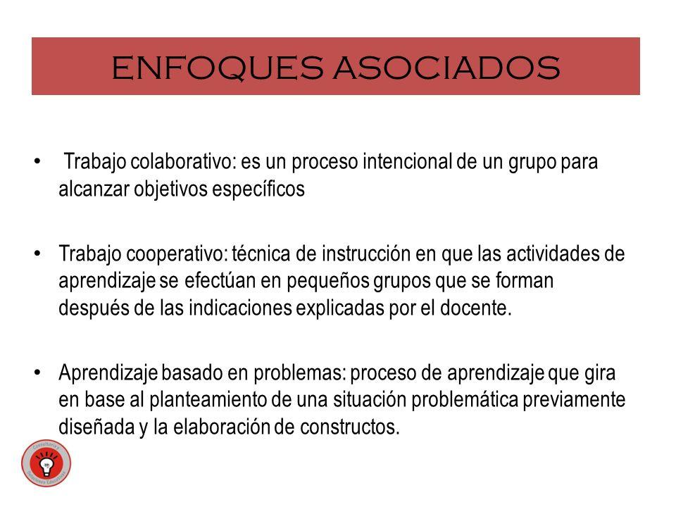 ENFOQUES ASOCIADOS Trabajo colaborativo: es un proceso intencional de un grupo para alcanzar objetivos específicos Trabajo cooperativo: técnica de ins