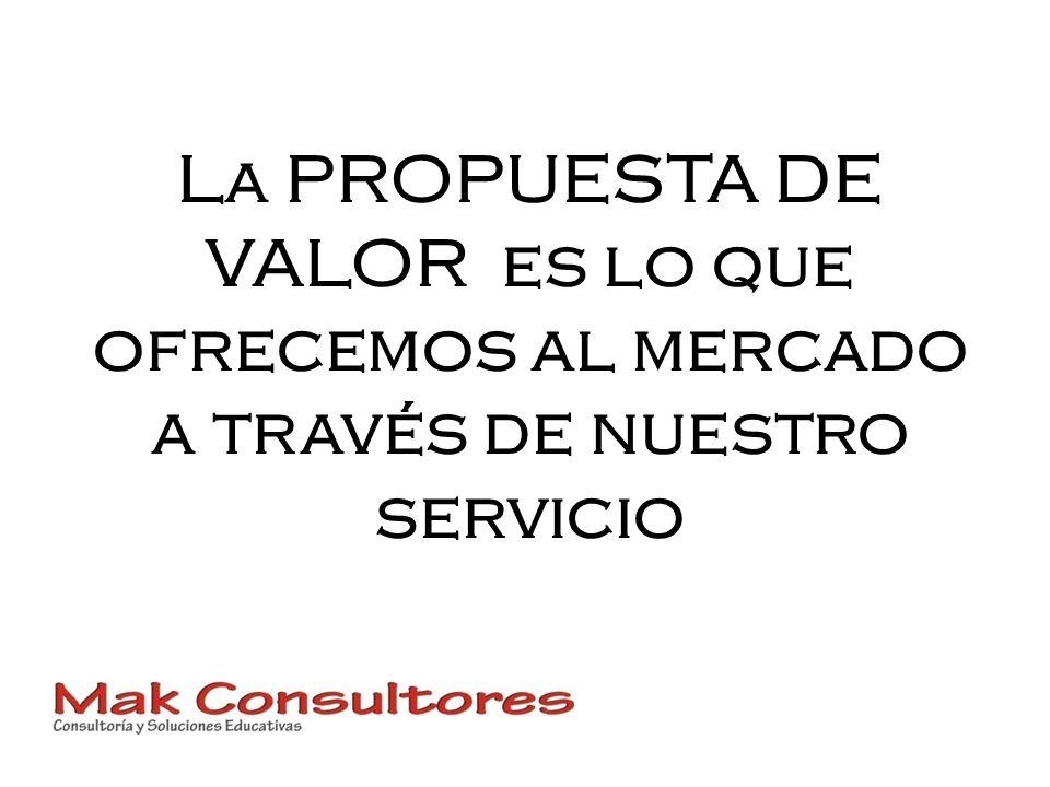 La PROPUESTA DE VALOR es lo que ofrecemos al mercado a través de nuestro servicio