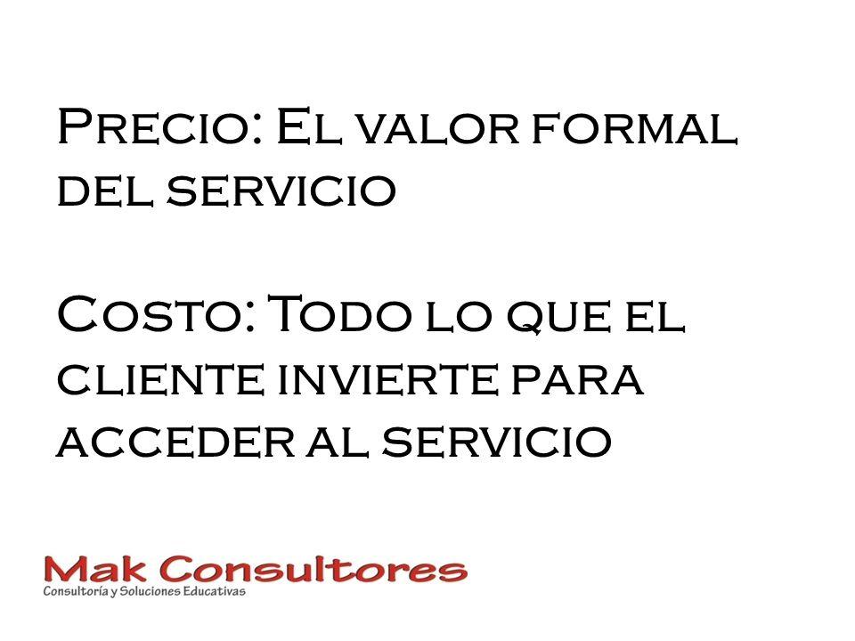 Precio: El valor formal del servicio Costo: Todo lo que el cliente invierte para acceder al servicio