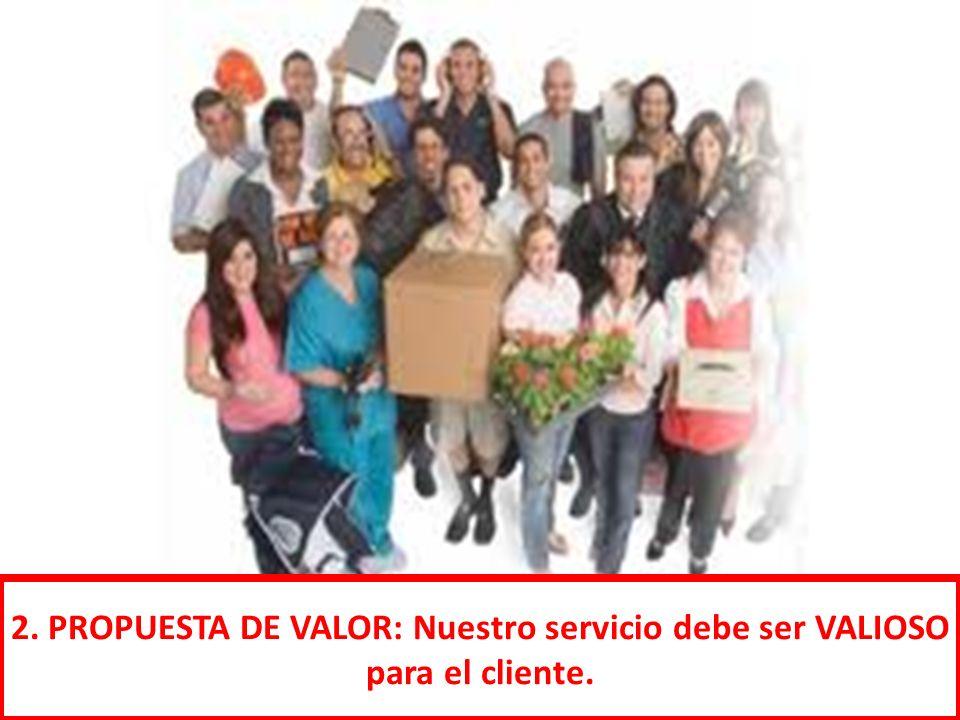2. PROPUESTA DE VALOR: Nuestro servicio debe ser VALIOSO para el cliente.