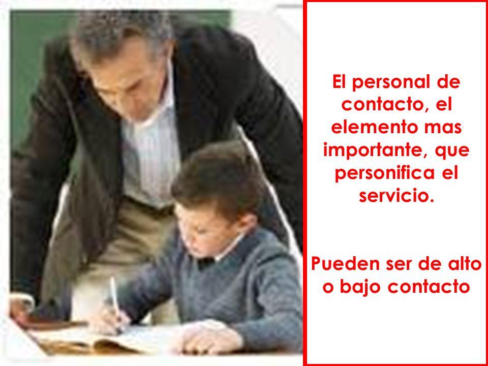 El personal de contacto, el elemento mas importante, que personifica el servicio. Pueden ser de alto o bajo contacto