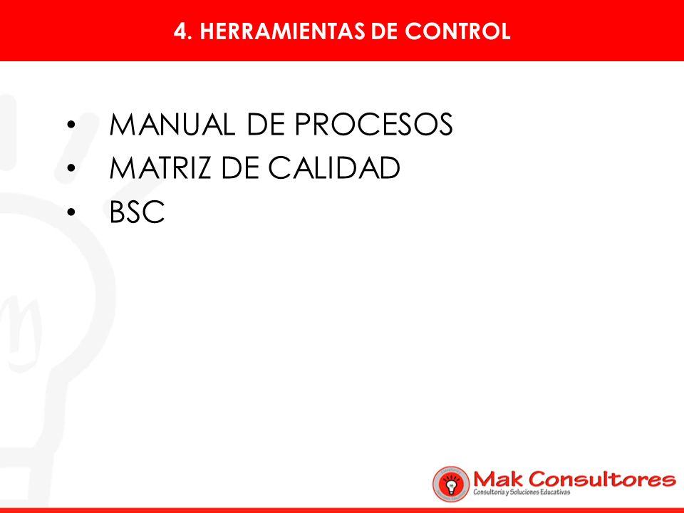 4. HERRAMIENTAS DE CONTROL MANUAL DE PROCESOS MATRIZ DE CALIDAD BSC
