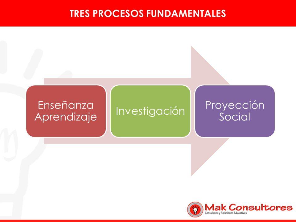 TRES PROCESOS FUNDAMENTALES Enseñanza Aprendizaje Investigación Proyección Social