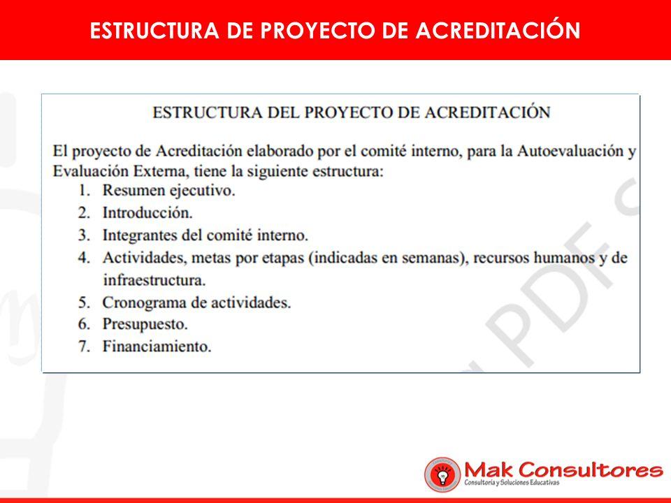 ESTRUCTURA DE PROYECTO DE ACREDITACIÓN