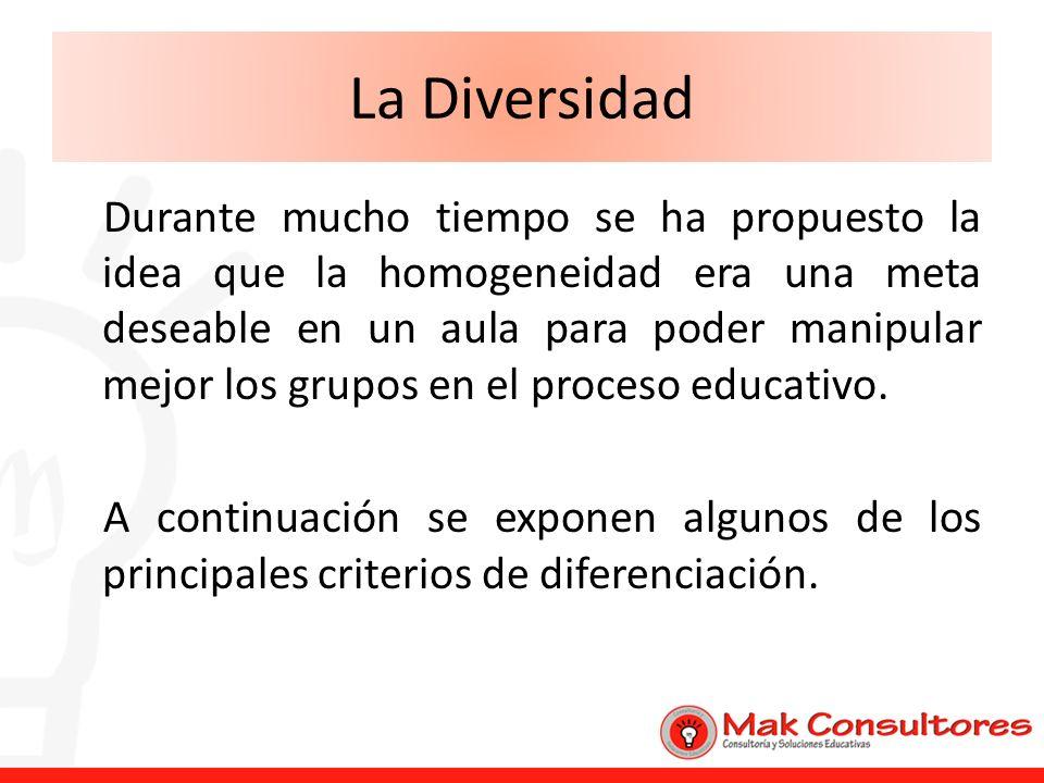 La Diversidad Durante mucho tiempo se ha propuesto la idea que la homogeneidad era una meta deseable en un aula para poder manipular mejor los grupos