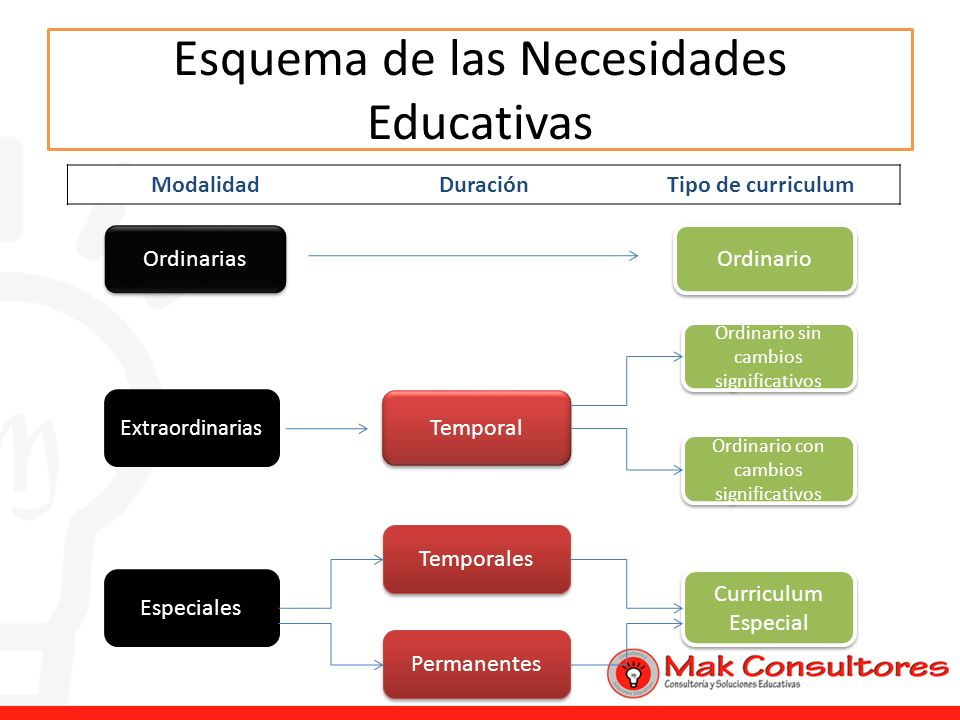 Esquema de las Necesidades Educativas Ordinarias Ordinario E xtraordinarias ModalidadDuraciónTipo de curriculum Temporal Ordinario sin cambios signifi
