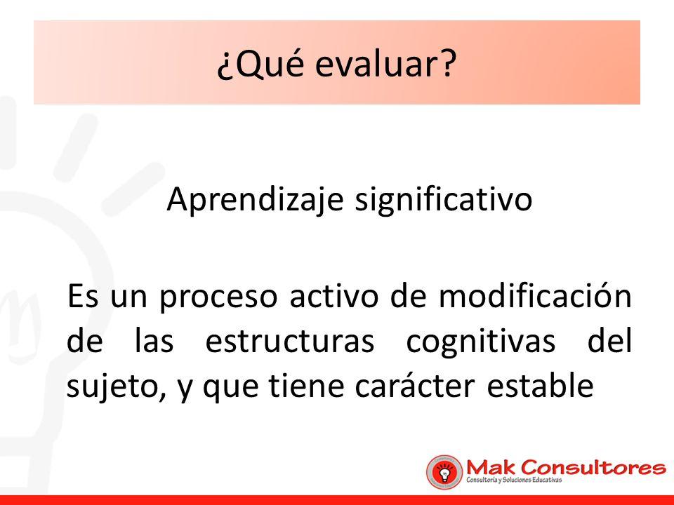 ¿Qué evaluar? Aprendizaje significativo Es un proceso activo de modificación de las estructuras cognitivas del sujeto, y que tiene carácter estable