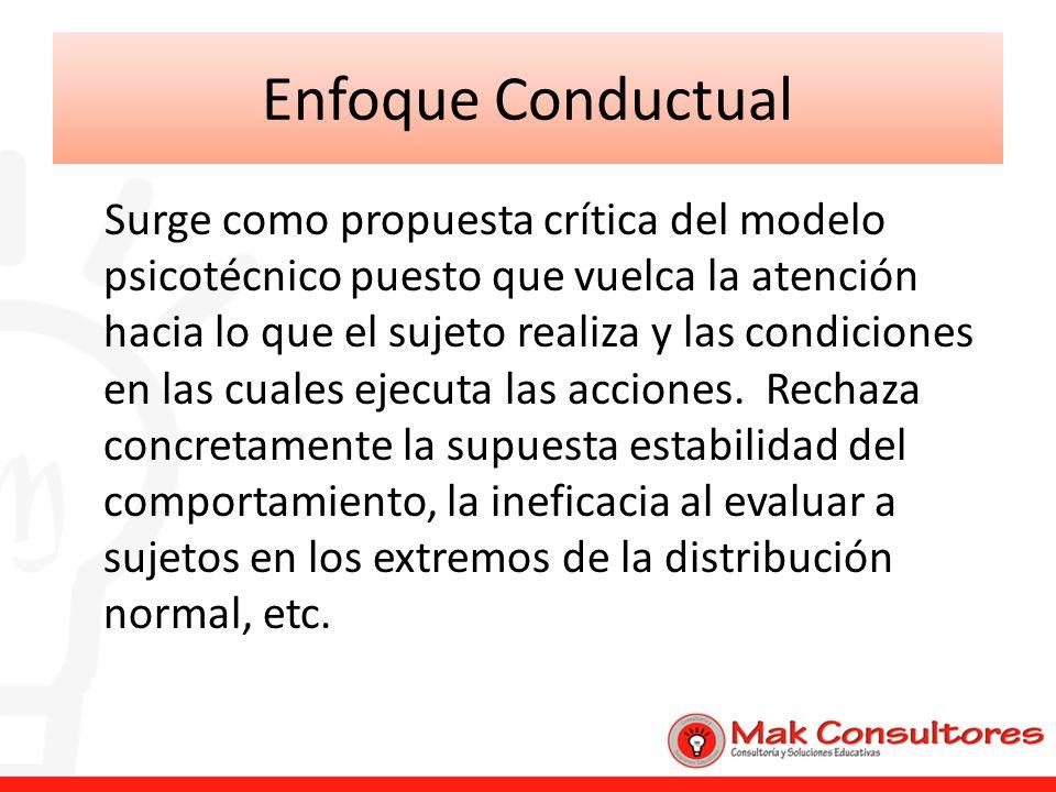 Enfoque Conductual Surge como propuesta crítica del modelo psicotécnico puesto que vuelca la atención hacia lo que el sujeto realiza y las condiciones